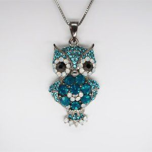 Cära Couture NY Rhinestone & Crystal Owl Necklace
